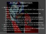 journal modernism assessment