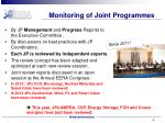 monitoring of joint programmes