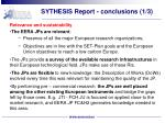 sythesis report conclusions 1 3