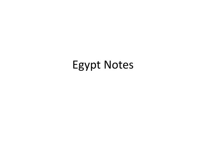 egypt notes n.