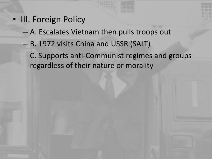 III. Foreign Policy