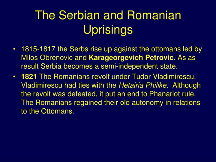The Serbian and Romanian Uprisings