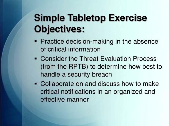 simple tabletop exercise objectives n.