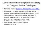 contoh cantuman singkat dari library of congress online catalogue