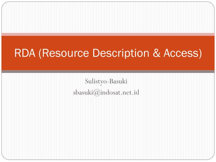 rda resource description access n.