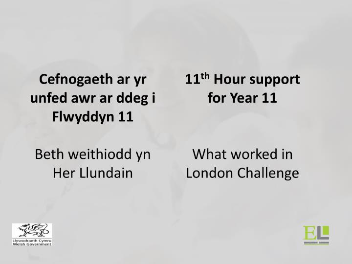 11 th hour support for year 11 what worked in london challenge n.