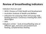 review of breastfeeding indicators