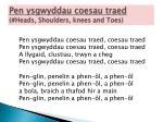 pen ysgwyddau coesau traed heads shoulders knees and toes