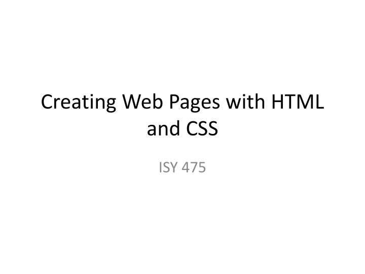 creating web pages with html and css n.