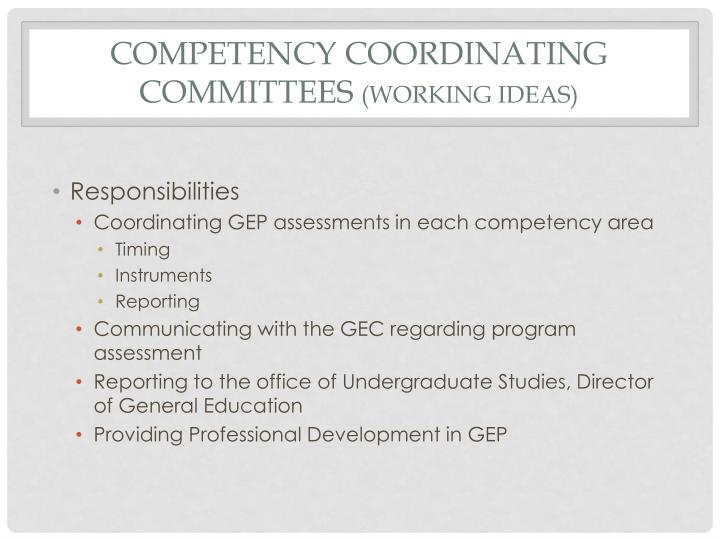 Competency coordinating committees