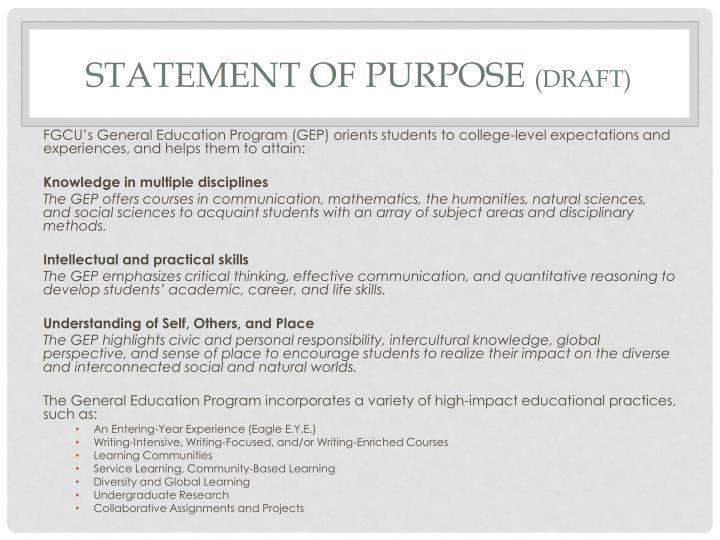 Statement of purpose draft