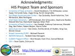 acknowledgments his project team and sponsors