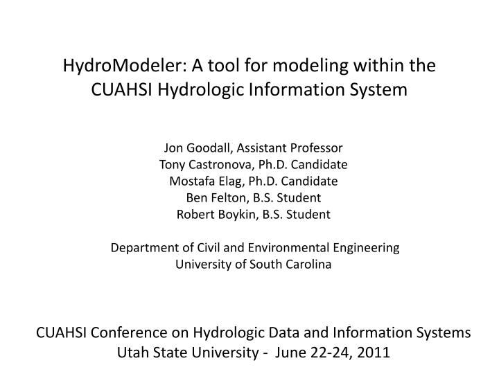 hydromodeler a tool for modeling within the cuahsi hydrologic information system n.