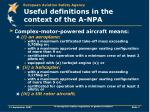 useful definitions in the context of the a npa1