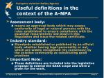 useful definitions in the context of the a npa2