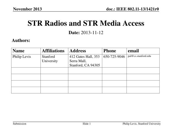 str radios and str media access n.