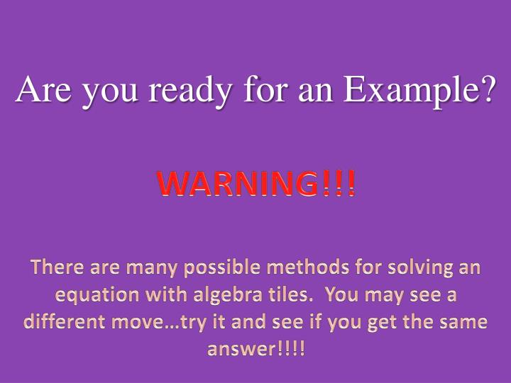 Are you ready for an Example?