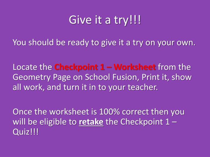 Give it a try!!!