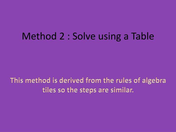 Method 2 : Solve using a Table