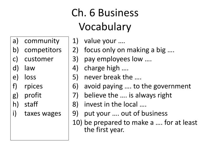 ch 6 business vocabulary n.
