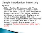 sample introduction interesting quote