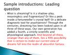 sample introductions leading question