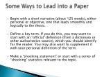 some ways to lead into a paper