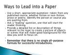 ways to lead into a paper