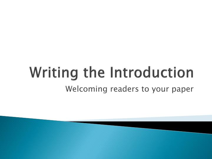 writing the introduction n.
