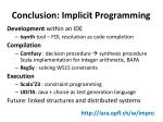 conclusion implicit programming