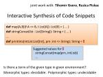 interactive synthesis of code snippets