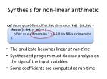 synthesis for non linear arithmetic