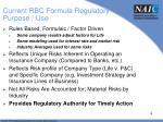 current rbc formula regulatory purpose use