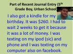 part of recent journal entry 5 th grade boy urban school