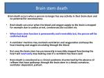 brain stem death