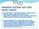 womens custom suit and dress points