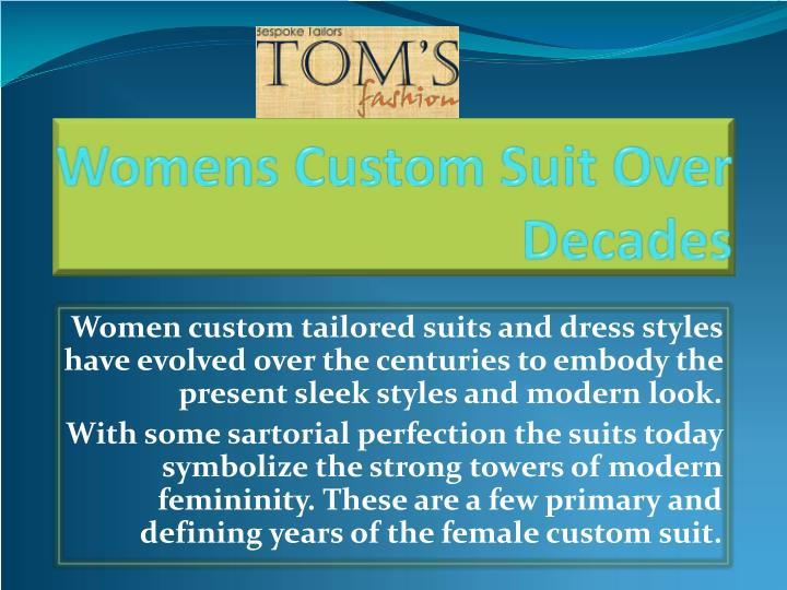 womens custom suit over decades n.