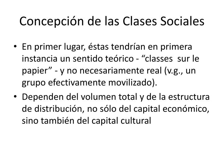 Concepción de las Clases Sociales