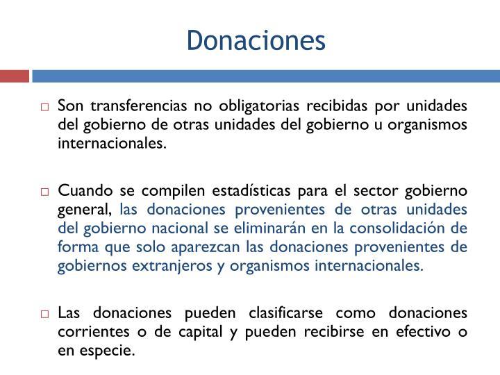 Son transferencias no obligatorias recibidas por unidades del gobierno de otras unidades del gobierno u organismos internacionales.