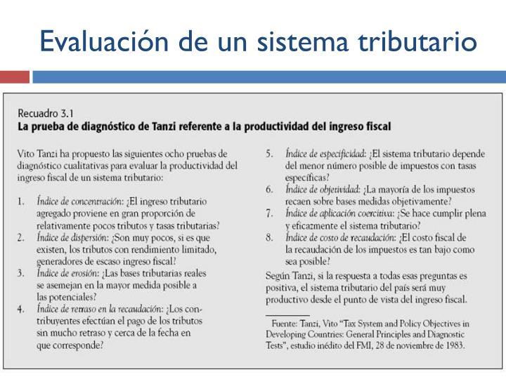Evaluación de un sistema tributario
