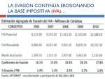 la evasi n contin a erosionando la base impositiva iva
