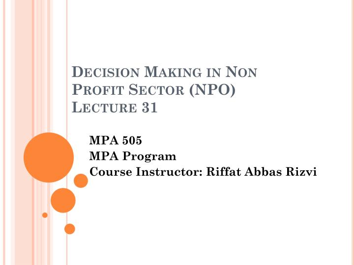 decision making in non profit sector npo lecture 31 n.