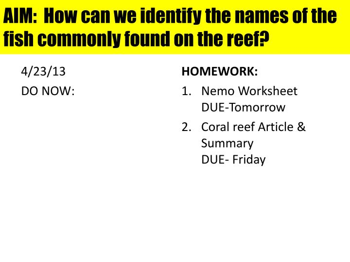 aim how can we identify the names of the fish commonly found on the reef n.