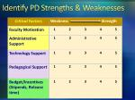 identify pd strengths weaknesses