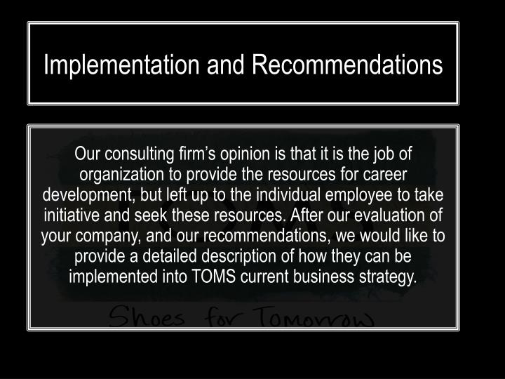 Implementation and Recommendations