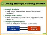 linking strategic planning and hrp