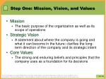 step one mission vision and values