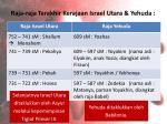 raja raja terakhir kerajaan israel utara yehuda