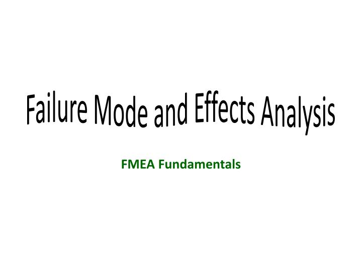 failure mode and effects analysis n.