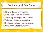 particulars of our class